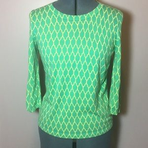 Ann Taylor lime-y/green patterned sweater